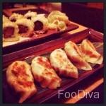 Chicken gyoza and spicy tuna maki